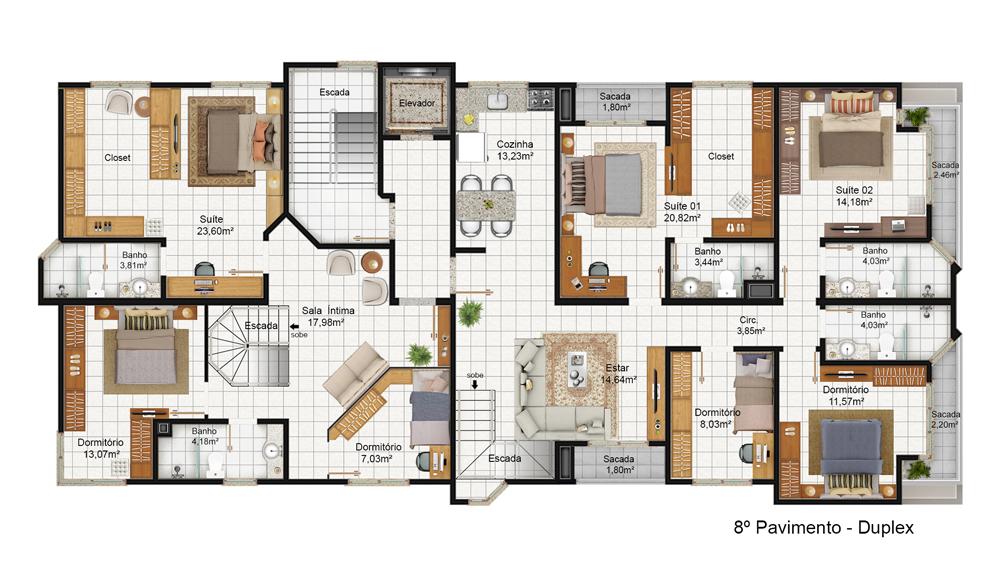 Planta Cobertura 8 pavimento - Parte inferior do duplex